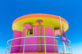 Pink Lifeguard House in Typical Architecture during Summer Day in Miami Beach, Florida, USA Photographic Print by  Frazao