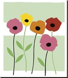 Playful Poppies Stretched Canvas Print by Muriel Verger