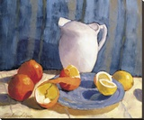 Pitcher with Tangelos and Lemons Stretched Canvas Print by Tony Saladino