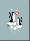 Penguin Love Stretched Canvas Print by Tracy Walker