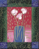Pink Flowers on Red Stretched Canvas Print by James Hussey