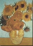 Vase mit Sonnenblumen (vor blauem Hintergrund), 1888 Leinwand von Vincent van Gogh