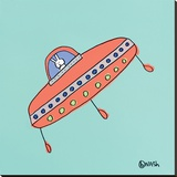 UFO Lala - Teal Stretched Canvas Print by Brian Nash
