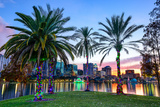 Orlando, Florida, USA Downtown Skyline at Eola Lake. Photographic Print by  SeanPavonePhoto