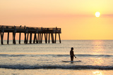 Early Morning at the Pier in Jacksonville Beach, Florida. Photographic Print by  RobWilson