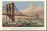 The Great East River Suspension Bridge, 1877 Stretched Canvas Print by  Vintage Reproduction