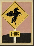 Unicorn X-ing Sign Stretched Canvas Print by  Anderson Design Group