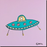 UFO Lala - Purple Stretched Canvas Print by Brian Nash
