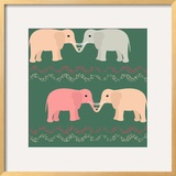 Seamless Pattern with Elephants and Hearts Poster by  elein