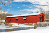 Snowy Red Covered Bridge Photographic Print by  KennethKeifer