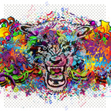 Angry Wolf Head on Abstract Background Posters by  reznik_val