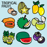 TROPICAL FRUITS Posters by  giantapplelim