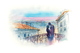 Loving Couple in the City Print by  okalinichenko