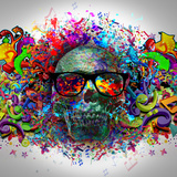 Skull in Glasses Premium Giclee Print by  reznik_val