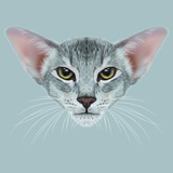 Illustrative Portrait of Oriental Cat. Very Beautiful Domestic Cat Tabby Coat Print with Green Eyes Print by  ant_art19