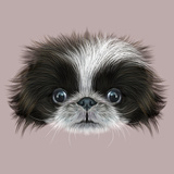 Illustrated Portrait of Pekingese Dog Prints by  ant_art19
