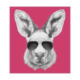 Portrait of Kangaroo with Sunglasses. Hand Drawn Illustration. Kunst af victoria_novak