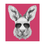 Portrait of Kangaroo with Sunglasses. Hand Drawn Illustration. Sztuka autor victoria_novak
