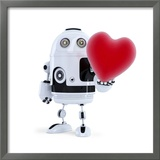 Cute Robot Holding A Big Red Heart. Isolated Posters by  Kirill_M