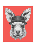 Portrait of Kangaroo with Hat and Glasses. Hand Drawn Illustration. Art by  victoria_novak