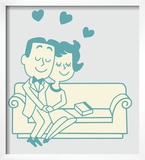 Couple Cuddling on the Couch Prints by  Pop Ink - CSA Images
