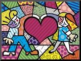 Niños y corazón Lámina montada en tabla por Romero Britto