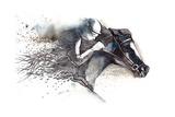 Horse Racing Print by  okalinichenko