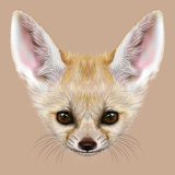 Illustrative Portrait of Fennec Fox. Cute Face of Special African Fox. Prints by  ant_art19