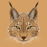 Illustrative Portrait of Lynx. Cute Wild Cat of Eurasia. Premium Giclee Print by  ant_art19