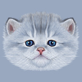 Illustrative Portrait of Domestic Kitten. Cute Silver Kitten with Blue Eyes. Premium Giclee Print by  ant_art19