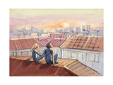 City Roofs Romance Poster by  okalinichenko