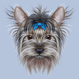 Illustrative Portrait of a Domestic Dog. Cute Head of Yorkshire Terrier on Blue Background. Poster by  ant_art19