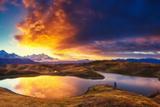 Fantastic Lake Koruldi with Overcast Sky at the Foot of Mt. Ushba. Dramatic Morning Scene. Upper Sv Photographic Print by Leonid Tit