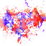 Tiger in Red and Blue Prints by  reznik_val
