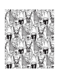 Big Group Monkey Seamless Black and White Pattern Posters by  Karrr