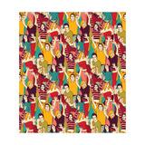 Crowd Active Happy People Seamless Color Pattern Plakater af  Karrr