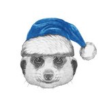 Portrait of Mongoose with Santa Hat. Hand Drawn Illustration. Posters by  victoria_novak