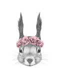 Portrait of Squirrel with Floral Head Wreath. Hand Drawn Illustration. Poster by  victoria_novak