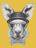 Portrait of Kangaroo with Hat, Glasses and Bow Tie. Hand Drawn Illustration. Plakater af  victoria_novak