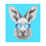 Portrait of Kangaroo with Mirror Sunglasses. Hand Drawn Illustration. Print by  victoria_novak