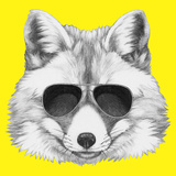 Original Drawing of Fox with Sunglasses. Isolated on Colored Background. Posters by  victoria_novak