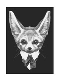 Portrait of Fennec Fox in Suit. Hand Drawn Illustration. Print by  victoria_novak