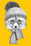 Portrait of Fox with Scarf and Hat. Hand Drawn Illustration. Poster by  victoria_novak