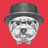 Portrait of Hipster Dog. Yorkshire Terrier with Sunglasses,Hat and Bow Tie. Hand Drawn Illustration Premium Giclee Print by  victoria_novak