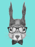 Portrait of Squirrel with Glasses and Bow Tie . Hand Drawn Illustration. Posters by  victoria_novak