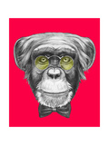 Original Drawing of Monkey with Glasses and Bow Tie. Isolated on Colored Background. Prints by  victoria_novak