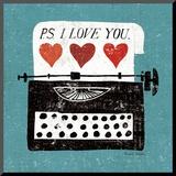 Vintage Desktop: Typewriter Print på trä av Michael Mullan