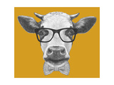 Portrait of Cow with Glasses and Bow Tie. Hand Drawn Illustration. Posters by  victoria_novak