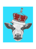 Portrait of Cow with Crown. Hand Drawn Illustration. Print by  victoria_novak