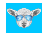 Portrait of Lamb with Mirror Sunglasses. Hand Drawn Illustration. Affiches par  victoria_novak